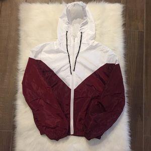 [ROMWE] two toned maroon windbreaker jacket